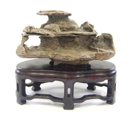 A Chinese Grey Scholar's Rock, the Horizontal Form of the Li