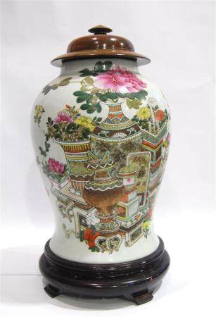 A Large Chinese Famille Rose Jar & Cover, Painted with Antiq