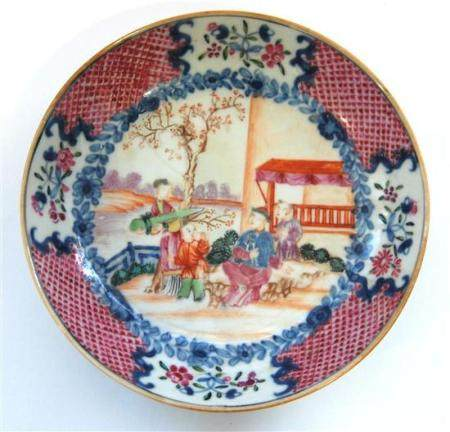 A Chinese Famille Rose Dish, Painted with Figures in a Garde