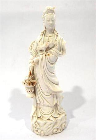 A Chinese Dehua Guanyin, Wearing Swirling Robes & Holding a