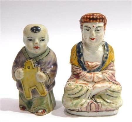 Two Porcelain Snuff Bottle in Form of a Boy & a Buddha, Qing