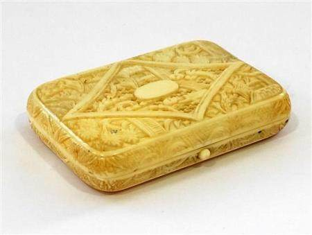 A Chinese Carved & Pierced Ivory Cigarette Case, in a Pillow