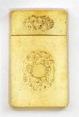 An Ivory Card Case, of Rectangular Form Finely Carved in Bas