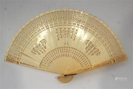 A Finely Pierced Ivory Fan the Guards & Sticks have a Centra