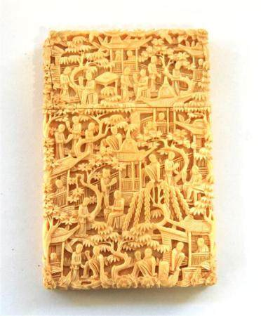 An Ivory Card Case, Intricately Carved with Architectural St