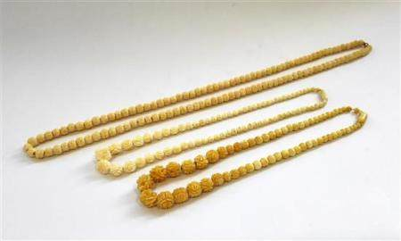 Three Carved Ivory Bead Necklaces,