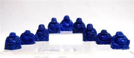 Nine Carved Lapis Lazuli Miniature Buddhas, 20th Century