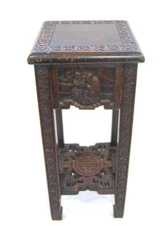 A Chinese Carved Square Stand with Drawer & Low Shelf, Raise