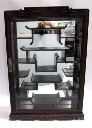 A Rosewood Glazed Display Cabinet of Rectangular Form, 20th