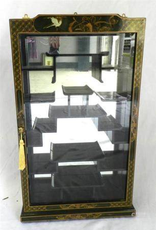 A Black Lacquer & Gilt Wall Display Cabinet Painted with Bir