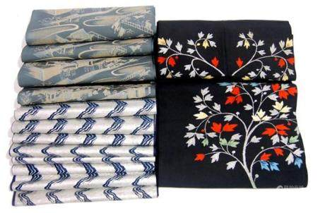 Three Japanese Obi's with Leafing Branches, A Wave Pattern &