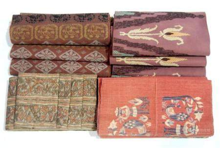 Four Japanese Obis in Earth Tones & Indigo, Showa Period, 20