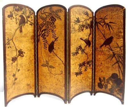 A Japanese Cherry Wood Four Panel Table Screen, Meiji Period