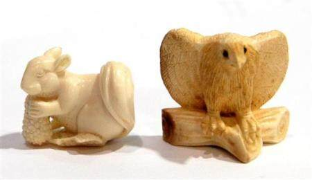 Two Mammoth Ivory Small Netsuke, a Squirrel with a Cob of Co