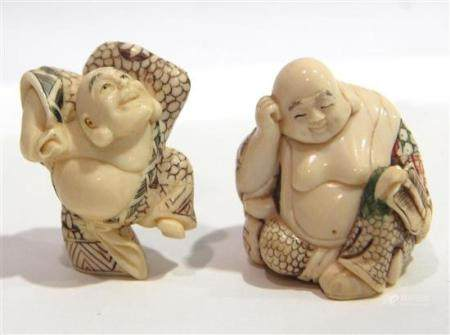 Two Ivory Polychrome Hotei Figures one Leaning on his Wine B