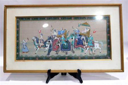 Gouache on Fabric a Procession of Decorated Horses & Elephan