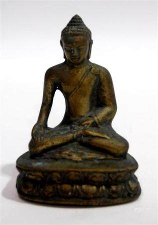 A Bronze Alloy of a Seated Buddha Raised on Lotus Throne, Ti