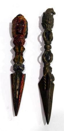 Two Ritual Tibetan Phurba Daggers, One Wood & One Copper, ti