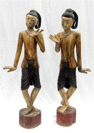 A Tall Pair of Burmese Gong Carriers, the Figures Carved in
