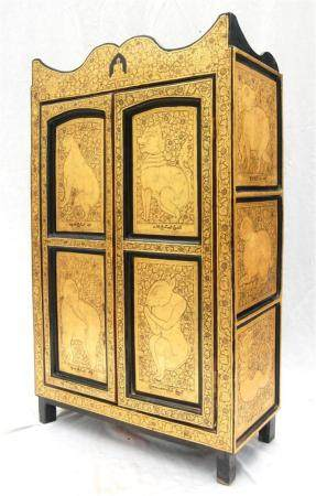 A Two Door Burmese Gilt & Lacquer Monks Cabinet with a Wave
