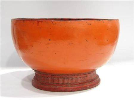 A Deep Burmese Coral Red Lacquer Bowl, Raised on a Waisted F