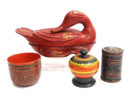 A Burmese Red Lacquered Duck Box, A Painted Bowl & Two Circu