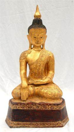 A Large Burmese Dry Lacquer & Gilt Seated Buddha with a Tria