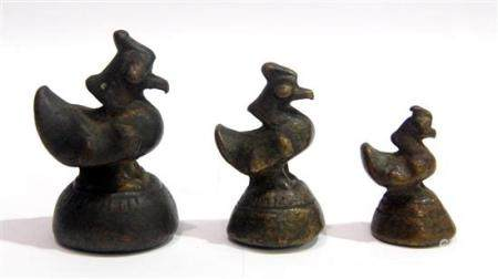 Three Opium Weights with Mythical Birds, Burma, 19th Century