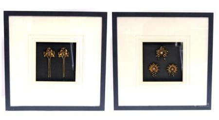 Silver Gilt Hair Pins & Brooch with a Pair of Earing Mounted