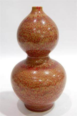 A Chinese Double Gourd Vase in a Drunken Beauty Glaze, a Six