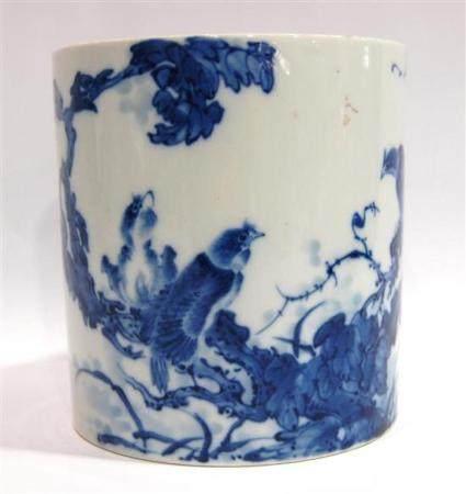 A Chinese Blue & White Porcelain Brush Pot, Studio Mark of W