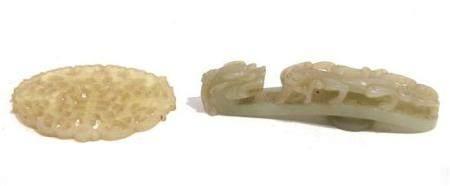 A Chinese Jade Grey-green Qilong Belt Hook & A Pierced Open