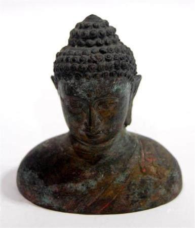 A Sino-Tibetan Hollow Cast Bronze Alloy Buddha Bust,