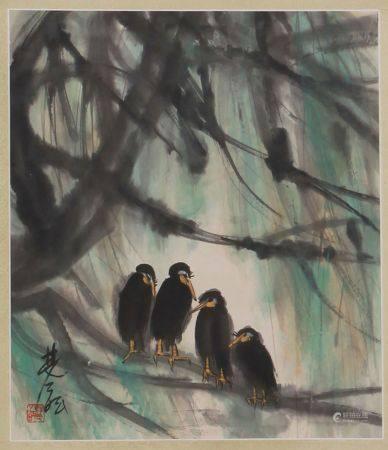 林风眠 林中小鸟 立轴