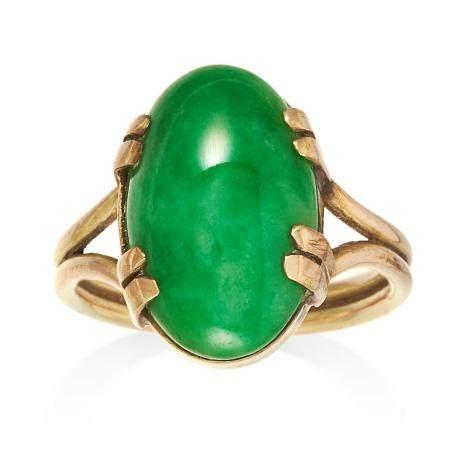 JADEITE JADE DRESS RING set with an oval jade cabochon,