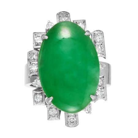 JADEITE JADE AND DIAMOND DRESS RING the oval jade