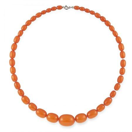 BUTTERSCOTCH AMBER BEAD NECKLACE set with polished