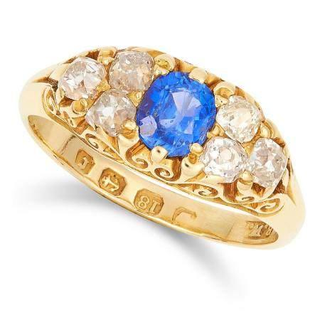 ANTIQUE VICTORIAN SAPPHIRE AND DIAMOND RING, 1891 set