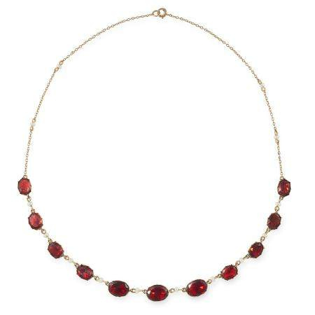 ANTIQUE GARNET AND SEED PEARL NECKLACE set with oval