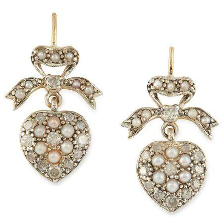 DIAMOND AND PEARL SWEETHEART EARRINGS in ribbon and