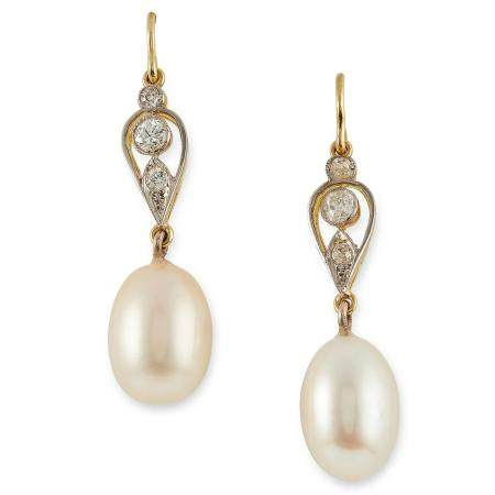 PEARL AND DIAMOND EARRINGS set with round cut diamonds