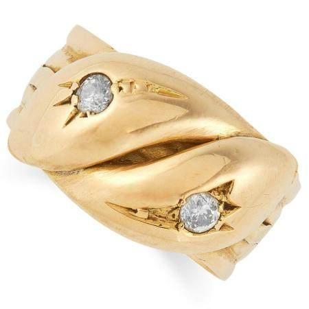 ANTIQUE DIAMOND SNAKE RING set with old cut diamonds,