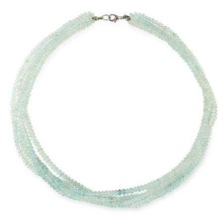 AQUAMARINE BEAD NECKLACE comprising of five rows of