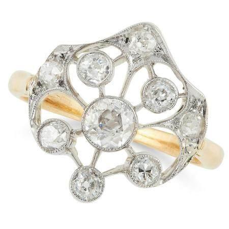 DIAMOND DRESS RING set with round cut diamonds, size K