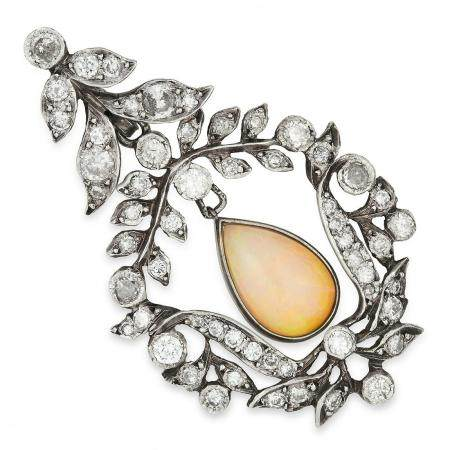 ANTIQUE OPAL AND DIAMOND PENDANT set with a pear cut