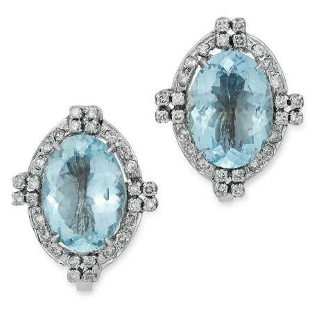 AQUAMARINE AND DIAMOND EARRINGS in Art Deco design,