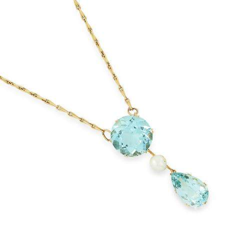 VINTAGE AQUAMARINE AND PEARL PENDANT comprising of a