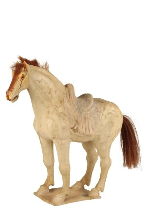 STRAW-GLAZED POTTERY HORSE FIGURE, TANG DYNASTY