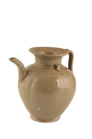 YUEYAO GREEN-GLAZED MELON-SHAPED EWER, FIVE DYNASTIES PERIOD, 10TH CENTURY