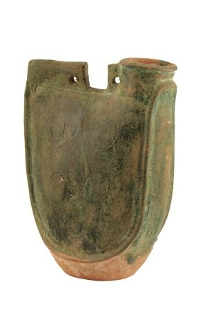 GREEN-GLAZED POTTERY LEATHER-FORM 'PILGRIM' FLASK, LIAO DYNASTY